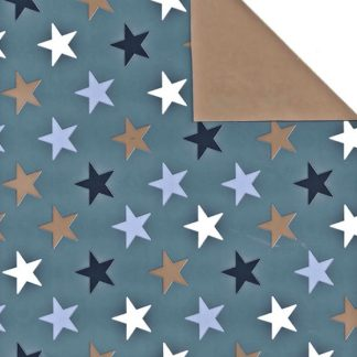 Double Sided Star Blue Narrow Wrapping Paper 38cm x 160m
