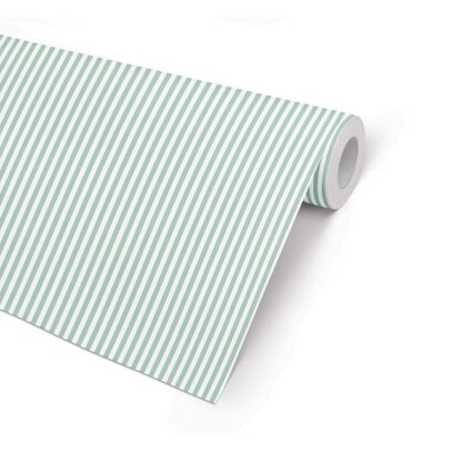 Double Sided Matte Mint 5 Stripe Wrapping Paper