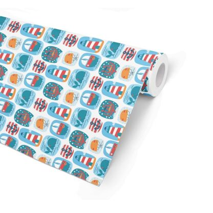 Double Sided Seaside Wrapping Paper