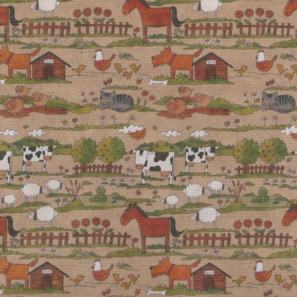 Ribbed Farmyard Brown Kraft Wrapping Paper 57cm x 200m