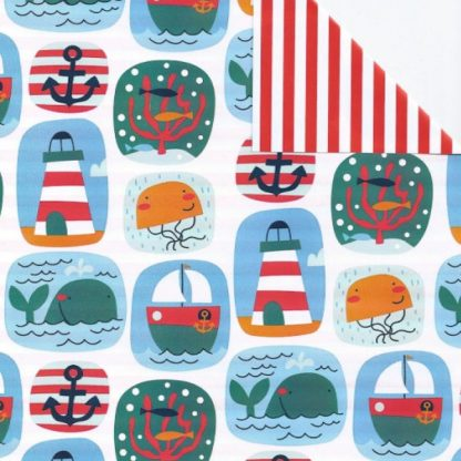 Double Sided Seaside Wrapping Paper 57cm x 160m