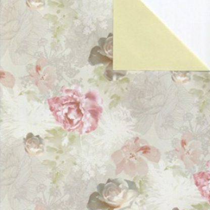 Double Sided Muted Roses Wrapping Paper 57cm x 160m
