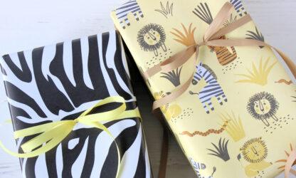 Zebra and Savannah Wrap with Matte Ribbon