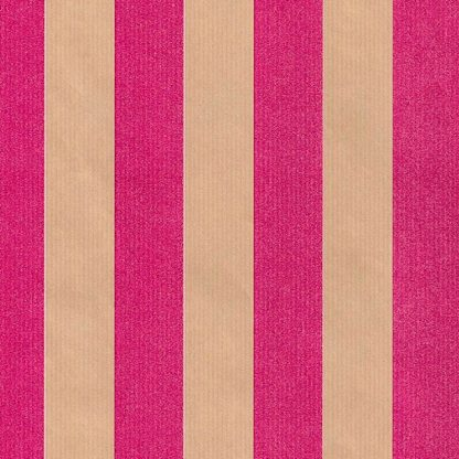 Ribbed Pink Rand Brown Kraft Wrapping Paper 57cm x 200m