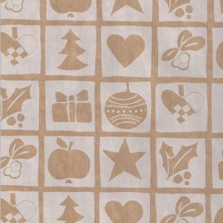 Ribbed Xmas Squares Brown Kraft Wrapping Paper 57cm x 200m
