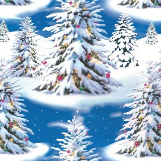 Blue Christmas Trees Wrapping Paper 57cm x 160m