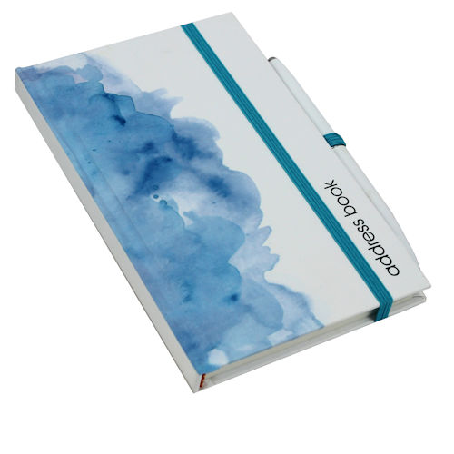 Address Book with Pen Blue Wash