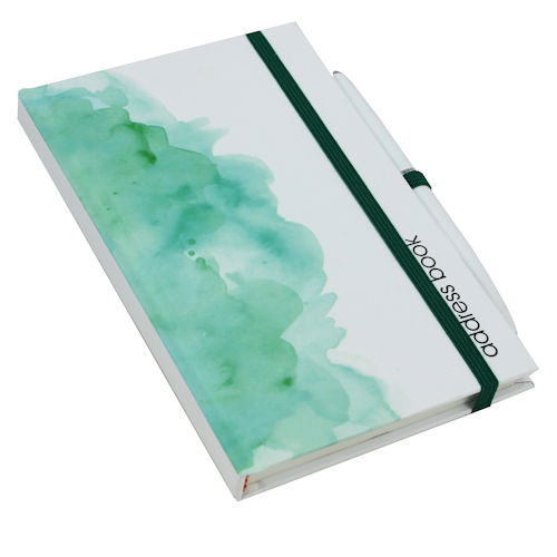 Address Book with Pen Green Wash