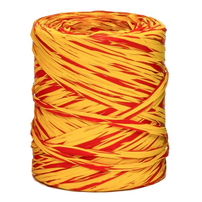 Yellow + Red Bicolour Raffia
