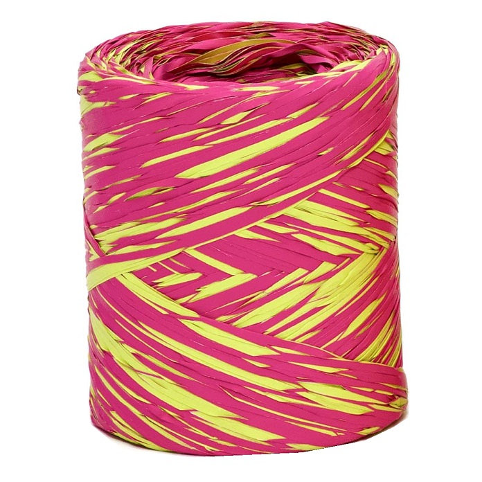 Hot Pink + Lime Bicolour Raffia