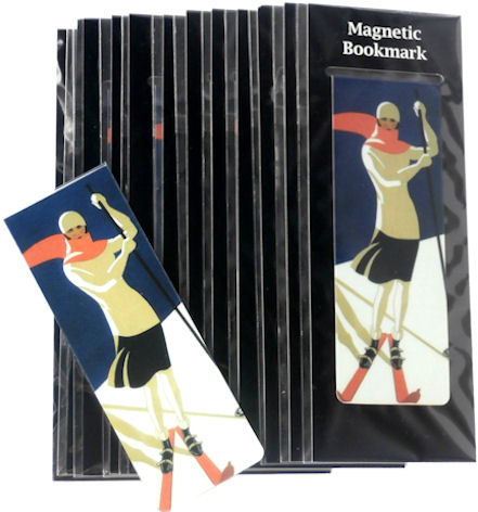 Magnetic Bookmark Lady Skiing