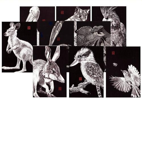 Card Mixed B+W Fauna