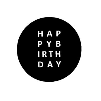 Happy Birthday B+W Sticker