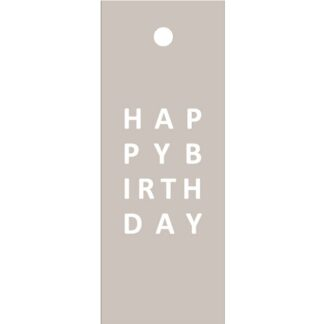 Happy Birthday Taupe Gift Tag