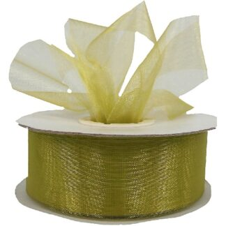 Lime Organza Ribbon 25mm