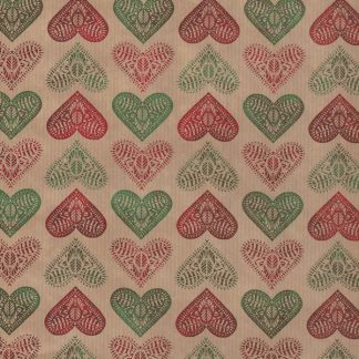 Green + Red Hearts Wrapping Paper