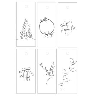 Christmas Drawings White Gift Tags
