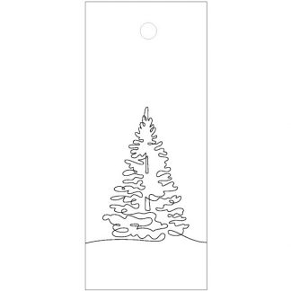 Tree Drawing White Gift Tag
