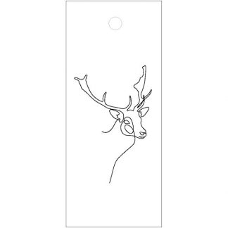 Stag Drawing White Gift Tag