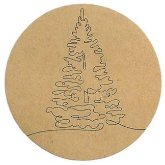 Tree Drawing Kraft Sticker