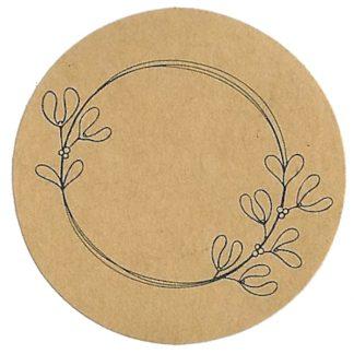 Wreath Drawing Kraft Sticker