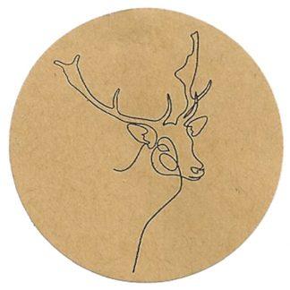Stag Drawing Kraft Sticker